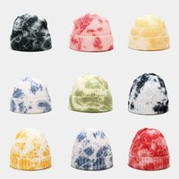 2020 new tie-dye knitted hat street trend wool yarn melon skin warm beanbean hat 5 colors two styles are optional