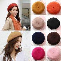 Lady Moda Primavera chapéu estilo Inverno Boinas Vintage Hat Painter Mulheres lã cor sólida Caps Feminino Bonnet Quente Walking Cap