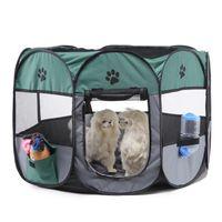 Tente en nylon pliable pour animaux de compagnie avec sac chien house cage chiots chat chiot chippy chenil facile Opération octogonal clôture fournitures de plein air