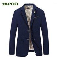 Мужские костюмы Blazers Мужчины Blazer 2021 Весенняя Одинокая грудья 100% Хлопок Parka Мужская стройная Подгонка Куртки Royal Bule Большой Размер Более низкая цена