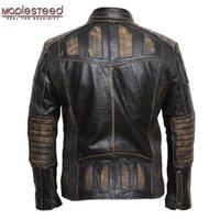 MapLesteed старинный мотоцикл куртка мужская кожаная куртка 100% коровьей натуральной кожаной куртки мужские велосипедисты мото куртка 5XL 090 20111
