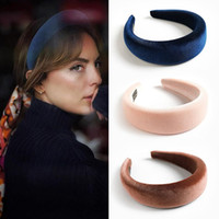 Mujeres Terciopelo esponja esponja DIEVA Moda Vintage Velvet Head Hoop Wide Hairbands Party Jewelry Accesorios para el cabello HHA1652
