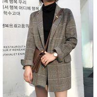 Femmes Blazer Automne Nouveau Costume Femme Vérifié Vintage Costume Woollen Plaid Woollen Veste Femme Taille Plus Vestes