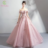 Ssyfashion New Luxury Lace Evening Dress Sweet Pink Appliques Beading Floor-length Formal Dresses Elegant Banquet Party Gown Y200930
