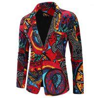 Herrenanzüge Blazer Halozeroo Mode Blumenmännerjacke Eine Tasten Stilvolle Muster Druck Mantel Casual Revers B301