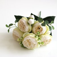 30cm 장미 핑크 실크 꽃다발 모란 인공 꽃 5 큰 머리 4 작은 꽃 봉오리 웨딩 홈 장식 가짜 꽃 가짜