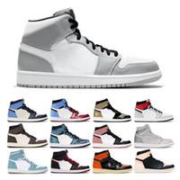 Мужские баскетбольные туфли 1s High OG OG OGIDIAN Royal Toe Black White Rug Rug Rug unc Enc Teat Chicago 1 светлый дым серые спортивные кроссовки
