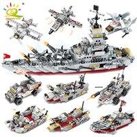 Huiqibao 958 adet 8in1 Ordu Deniz Savaş Gemisi Cruiser Yapı Taşları Askeri Gemi Uçak Tuğla Şehir İnşaatı Çocuk Oyuncakları