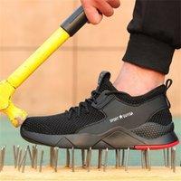 YADIBA Sapatos respiráveis Masculinos Homens Indestrutíveis Homens de Aço Botas de Segurança Aéreas Botas de Punture-Proof Tênis Y200915