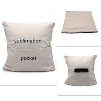 فارغة التسامي جيب وسادة غطاء الكتان البوليستر البيج ساحة وسادة أريكة رمي المغلف وسادة غطاء 40 * 40 سنتيمتر W42