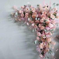 인공 꽃꽂이 테이블 센터 피스 꽃 공 삼각형 행 장식 결혼식 아치 배경 파티 단계 이벤트