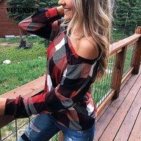 Vieunsta сексуальный с плеча женщины рубашка осень плед печать с длинным рукавом блузка рубашка мода плюс размер свободная уличная одежда Топы Blusa1