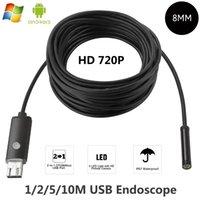 8mm lente usb endoscópio android 1m 2m 5m 10m otg pc usb endoscopio mini câmera 720p inspeção câmera de telefone à prova d 'água