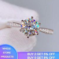 YANHUI High Quality Classic Eternity 1ct Wedding Rings Exquisite 100% Original 925 Silver Zirconia Diamond Rings For Women XR016