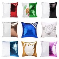 Sequins Mermaid Pillow Case Sublimation Cushion Cover 40X40cm Hot Transfer Printing DIY Decorative Sofa Pillows Case DDA635