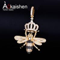 forma animale ape Collana con Campo color oro catena d Bling cubico zircone Uomini Hip hop gioielli Y200918