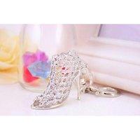 Altın anahtar yüzükler promosyon düğün hediyesi kristal parlak yüksek topuk ayakkabı araba anahtarlık bayan yaratıcı çanta süsleme wmteed tüm2019