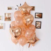 파티 장식 장미 골드 하트 풍선 호일 스타 풍선 웨딩 장식 라텍스 Ballon 공기 풍선 생일 장식