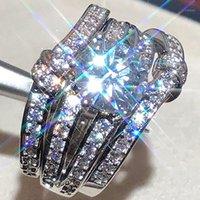 Vente chaude Vente de luxe Ronde 925 Sterling Sterling Three PCS Bague de mariage Set pour femme anniversaire cadeau bijoux en gros R58631