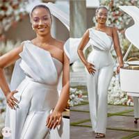 화이트 점프 슈트 2021 댄스 파티 드레스 프릴이 하나의 어깨 이브닝 가운 플러스 사이즈 새틴 바지 정장 드레스