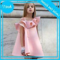 2020 новый дизайнер розовый для одежды лето девушка платья одно плечо девушки вечеринка платье ребенка детей принцесса