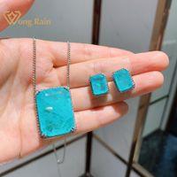 Wong Rain Luxury 100% 925 Серрелинг-серебро Paraiba Tourmaline Gemstone Серьги / подвеска / ожерелье свадебные ювелирные изделия наборы оптом Q1219