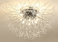Starburst Cristal Flush Mount Chandelier LED G9 Nórdico Aço Inoxidável Dente-de-leão Teto Art Deco Estudo Quarto Hotel