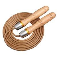 Ropes sauter une corde avec poignée en bois et vitesse de cuir réglable pour femmes hommes exercices de fitness gymnase