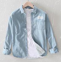 남성 데님 셔츠 인쇄 느슨한 남자 셔츠 캐주얼 카우보이 긴팔 청바지 착용 봄 가을 패션 망 드레스 xxxl1