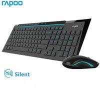 Tastiera Mouse Combos Rapoo Multimedia wireless wireless con topi silenziosi ultra sottili alla moda per il computer PC Gaming TV