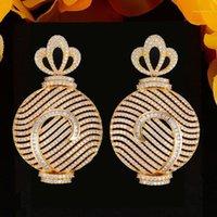 Godki Große Parfüm Flasche Afrikanische baumeln Ohrringe für Frauen Hochzeit Zirkonia Dubai Bridal Ohrring Schmuck Zubehör 20201