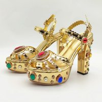 Salu Echtes Leder Sandalen Frauen Öffnen TOE Barockstil Seltsame High Heels Schuhe Schnalle Schuhe Frau Sommer Gold Plus Size32-43