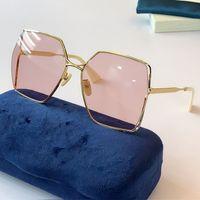 New Womens Oversized Moda óculos de sol 0817 Óculos de sol quadrados Frameless 0817s UV400 Óculos protetores topo Alta qualidade com caixa original