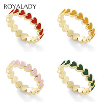 أزياء بسيطة القلب المحيط محكم حلقات للنساء بوهو الأحمر الأخضر الأزرق الاشتباك الزفاف الاصبع حلقات الإناث هدية 1