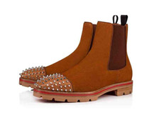 2021Fashion Top Роскошные Мужчины Ред Нижний Дизайнерские Ботинки Лодыжки Низкие каблуки Натуральная кожаная замша с заклепками дыня шипы плоские мужские пинетки