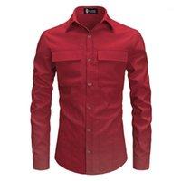 Bolsillos Doble Frontal Fashion Polyester Camisetas de manga larga Color Puro Txedo Camisa Camisa Camisas Hombre Streetwear1