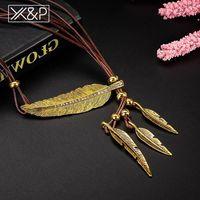 Anhänger Halsketten XP 2021 Vintage Ethnische Metallfeder Drop Halskette Für Frauen Mann Mode Anweisung Mädchen Jungen Seilkette India Schmuck