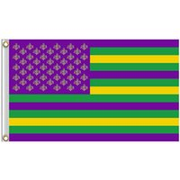 Bienvenido Fleur de Lis Mardi Gras Gras, 100D Poliéster 3x5ft Flags Impresión, Publicidad Colgante Nacional Al Aire Libre Uso interior, Envío de gota