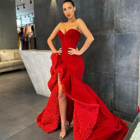 2020 Kırmızı Mermaid Gelinlik Modelleri Ruffles Yan Yarık Sevgiliye Örgün Abiye giyim vestido de novia özel fırsat elbise
