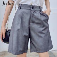 Jielur Kadınlar Yaz Şort Kadın Harajuku Yüksek Bel Kısa Pantolon Düz Serin Vintage Kadın Şort Siyah Şort M-5XL T200406