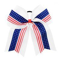 1 peça 8inch bandeira americana alegria arcos com faixa de cabelo elástico boutique líder de torcida meninas acessórios de cabelo 1011