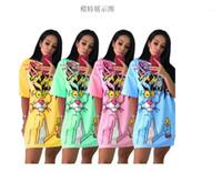 Diamanten Tierkleid Frauen Rosa Panther T-shirt Kleid Perlen T-shirt Sommer O Neck Kurzarm Lose Z34211