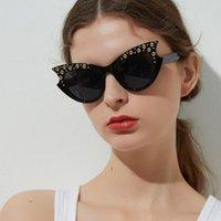 Óculos de sol Marca Design Cateye Mulheres Rivet Sun Óculos Femininos Borboleta Grande Quadro Grande 2021 Sexy Vintage Shades