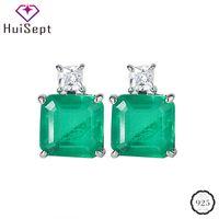 HuiSept Luxus-Ohrringe für Frauen Hochzeit Verlobung 925 Sterlingsilber-Schmucksache-Zusatz-Platz Smaragdedelstein-Bolzen-Ohrring