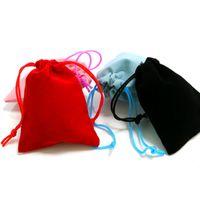 100pcs 5x7cm Velvet Cordon Cordon Pouch Sac / Bijoux Sac de Noël / Mariage Sacs-cadeaux Noir Rouge Rose Bleu 4 Couleur Grossiste 586 T2