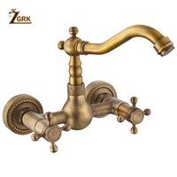 ZGRK 360 girevole d'ottone antico bagno del dispersore del bacino Mix Rubinetto vasca da bagno raddoppiano le maniglie Parete Cucina Bacino Lavello Miscelatore rubinetto
