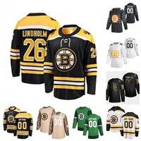 Personalizado Par Lindholm Sean Kuraly Steven Kampfer Trent Frederic Jeremy Lauzon David Pastrnak 2020 Hockey Jerseys costurado