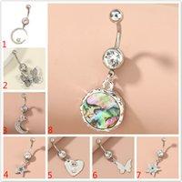 Body Piercing Crystal Star borboleta Coração Umbigo anéis de aço cirúrgico Barbells Dangle Branco Rhinestone Lua Navel piercing jóias