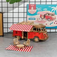 242pcs DIY 3D Estaciones de rompecabezas de madera para vehículo recreativo juego de juguete de regalo de montaje de automóviles para Niños Adolescentes Adultos MCB01
