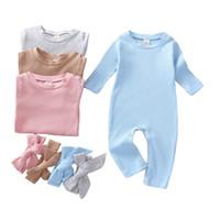 Tute di neonato Bambini Infantile Colori solidi per bambini Pagliaccetti Bambini Manica lunga Onesies Bambini Ragazzi Abbigliamento Set con fascia Dei Verdement Bebe 365 J2
